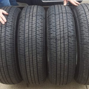 New Goodyear Endurance tires, size 235/80-16, May 2019. I now have 1,000 miles on them, and were bought at Discount Tires. They also installed metal v