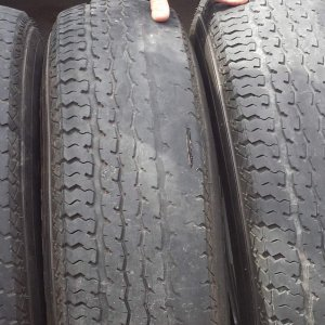 Maxxis tires, notice the gash in the middle tire. I don't know if this was from wear, a road hazard, or a flaw in the tire, but it didn't cause a loss