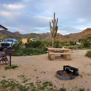 Our spacious campsite at White Tank Mountain Regional Park, Waddell, AZ. White Tank Mountains in the background. Trails run through the desert for hik